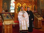 Ordination of Rev. Father Vasili Dubee, at St. Tikhon's Monastery, October 9, 2015. In the photo: newly ordained Rev. Father Vasili Dubee with Very Rev. Dr. John Kowalczyk.